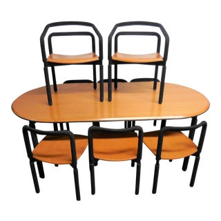8 Cherry Chairs and Table Dining Set by Metropolitan For Sale