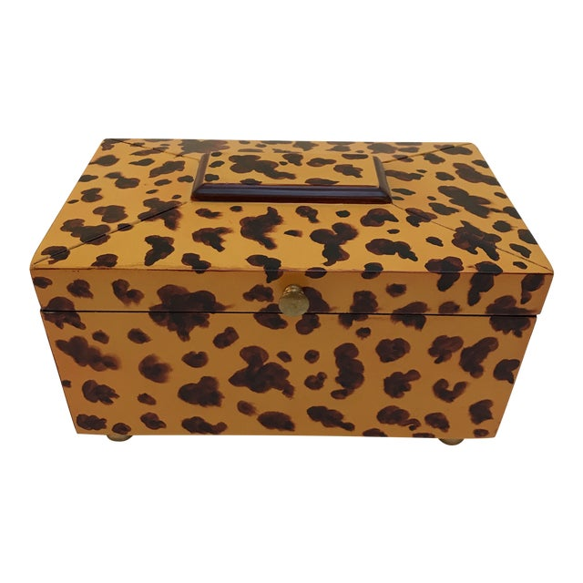 Decorative Animal Print Wooden Box For Sale