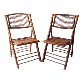 1950s Mid Century Modern Tortoise Rattan Bamboo Folding Chairs - a Pair For Sale