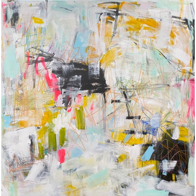 """""""Get Outta Town"""" Contemporary Abstract Expressionist Mixed-Media Painting by Sarah Trundle For Sale"""