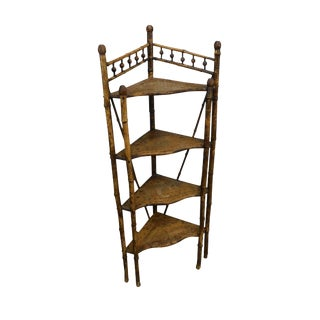 Victorian Antique 19th Century Burnt Bamboo Corner Etagere Shelf For Sale
