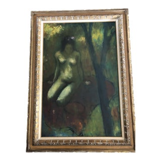 Original Mid Century Female Nude in Landscape Painting For Sale
