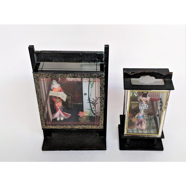 Vintage Japanese Miniature Geisha Shadow Boxes - A Pair - Image 7 of 11