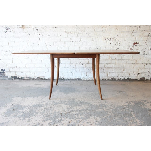 Mahogany Harvey Probber Mid-Century Modern Bleached Mahogany Saber Leg Flip Top Extension Dining or Game Table For Sale - Image 7 of 10