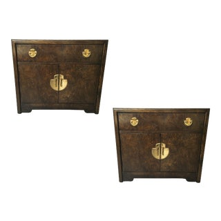 Pair of Burl Wood and Brass Bedside Tables For Sale