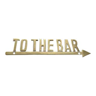 "Vintage Brass ""To the Bar"" Arrow Sign For Sale"