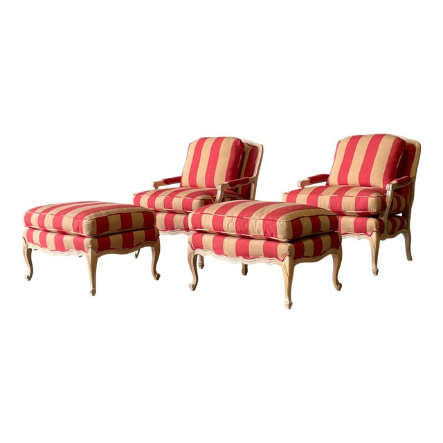 French Country Style Lounge Chair and Ottoman a Pair For Sale