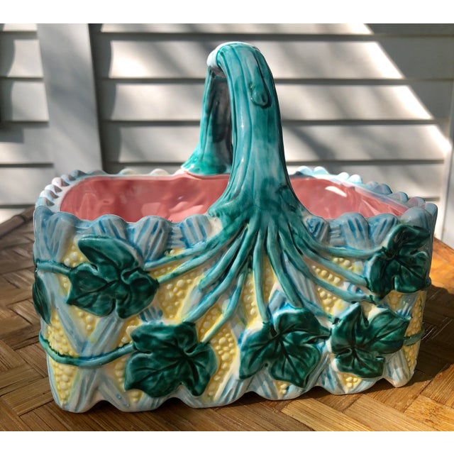Vintage Faience Ceramic Ivy Basket For Sale In Charleston - Image 6 of 11