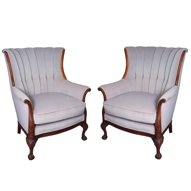 Lavender Mid-Century Mahogany Channel Shell Back Lavender-Grey Velvet Chairs, Matching Pair For Sale - Image 8 of 8