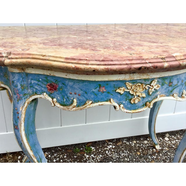 Venetian Painted Marble Top Console Table For Sale In Tampa - Image 6 of 12
