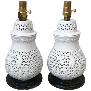 1960s Pair of Blanc De Chine Cherry Blossom Motif Lamps For Sale