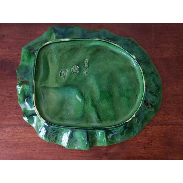 Late 20th Century Bordallo Pinheiro Majolica Cabbage Ware Platter For Sale - Image 5 of 8