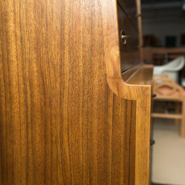 Walnut Mid-Century Drexel Composite Walnut High Chest For Sale - Image 7 of 11