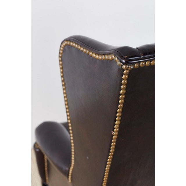 English Georgian Style Black Leather Wingback Armchair For Sale - Image 12 of 13