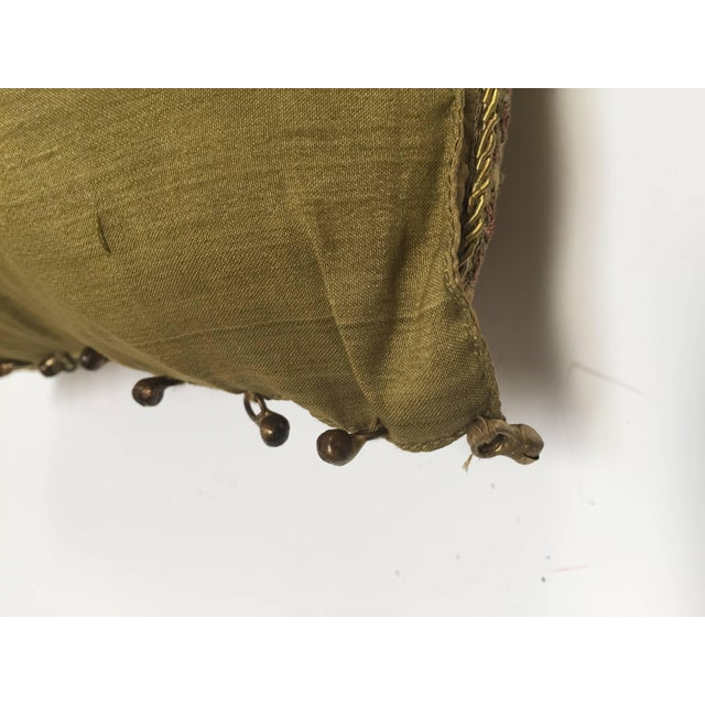 Silk Mid Century Silk Throw Pillow Embroidered With Raised Metallic Embroidery For Sale - Image 7 of 9
