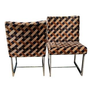 Milo Baugman Inspired Jack Lenor Larsen Chrome Chairs- a Pair For Sale