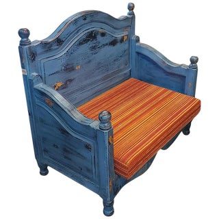 Moroccan Hand Carved Wooden Settee For Sale