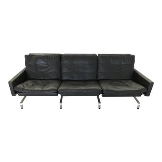 Poul Kjaerholm for Fritz Hansen Black Leather 3-Seat Sofa