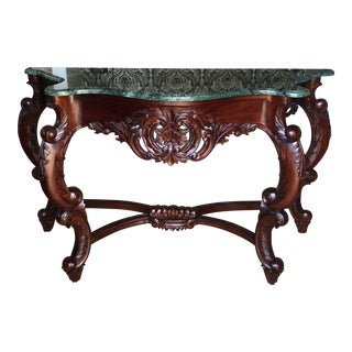 1970s Vintage Rococo Green Marble & Wooden Console Table For Sale