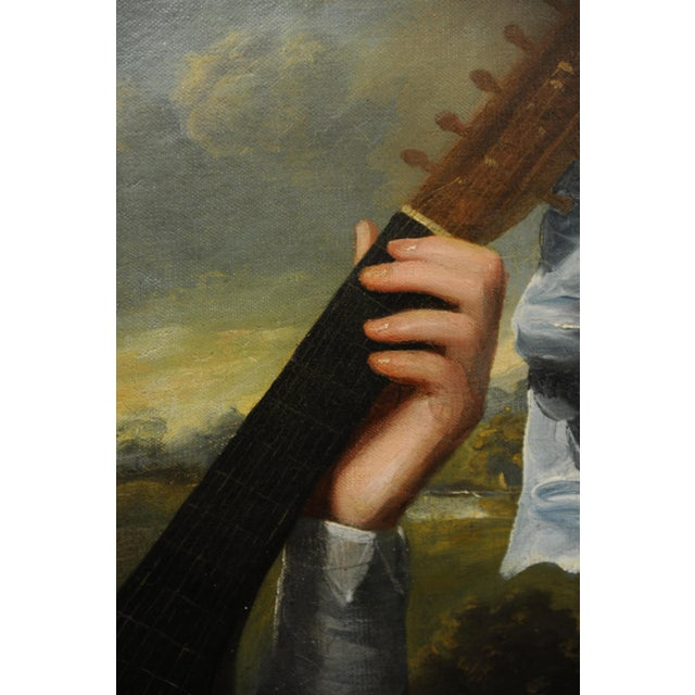 John Singleton Copley -Girl Playing the Lute-18th Century Oil Painting For Sale In Los Angeles - Image 6 of 12