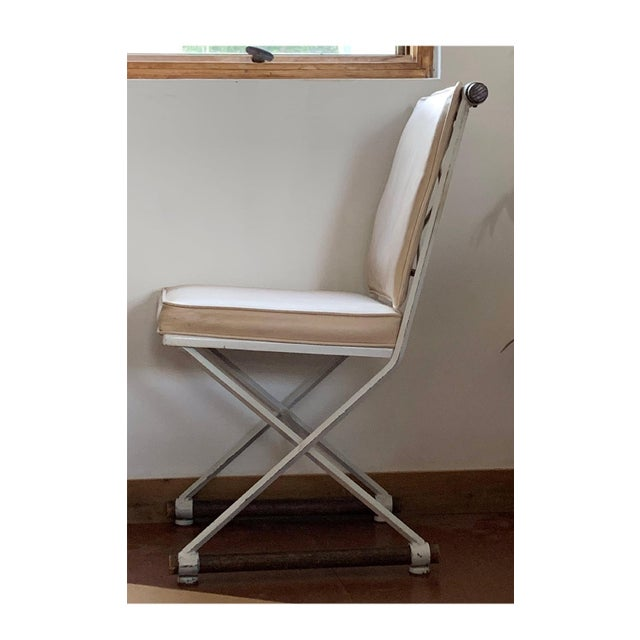 Cleo Baldon 1960s Vintage Cleo Baldon Terra White Wrought Iron & Oak Armless Directors Chairs - Set of 3 For Sale - Image 4 of 6