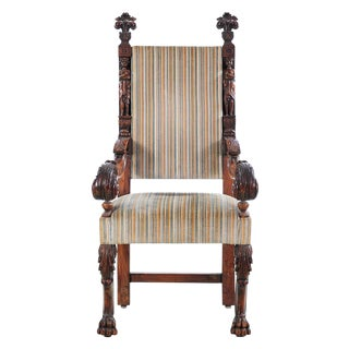 19th Century Carved Renaissance Arm Chair For Sale