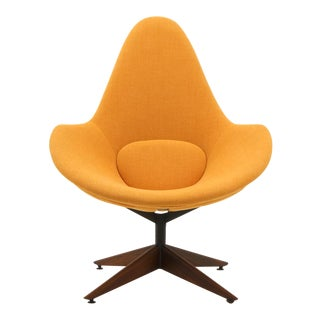 Adrian Pearsall Swivel Lounge Chair, Completely Restored, Very Rare For Sale