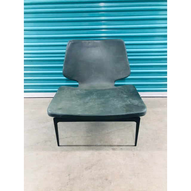 Modern Roberto Lazzeroni of Lema Italian Leather Lounge Chair For Sale In Los Angeles - Image 6 of 7