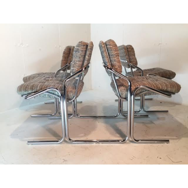 Mid-Century Modern Jerry Johnson Attr Chrome Dining Chairs - Set of 4 For Sale - Image 3 of 6