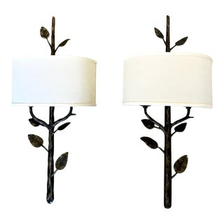 Giacometti Style Iron Tree Branch Sconces - a Pair