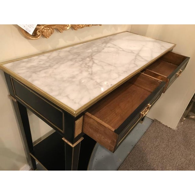 Jansen Style 2-Drawer Bronze-Mounted Marble-Top Console Tables - A Pair For Sale - Image 5 of 10