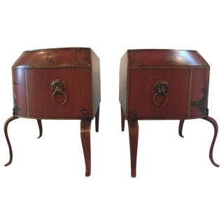 Lovely Pair of Red, Black and Gold Chinoiserie Decorated Tole Planters For Sale