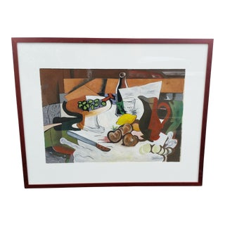 Mid-Century Cubist Feast Still Life Gouache Painting in the Style of Georges Braque For Sale