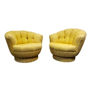 Pair of Milo Baughman Style Yellow Mid-Century Modern Tuffted Swivel Tub Chairs For Sale