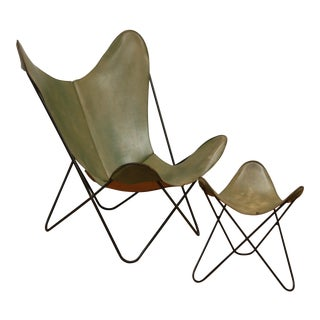 Vintage Hardoy for Knoll Green Leather Sling Butterfly Chair & Ottoman