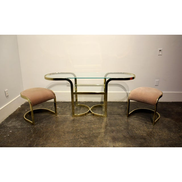 Pink Brass Console Cafe Table With Pink Chairs by Dia Design Institute of America For Sale - Image 8 of 8