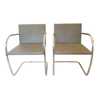 Vintage Mies Van Der Rohe Chrome & Gray Leather Armchairs - a Pair For Sale