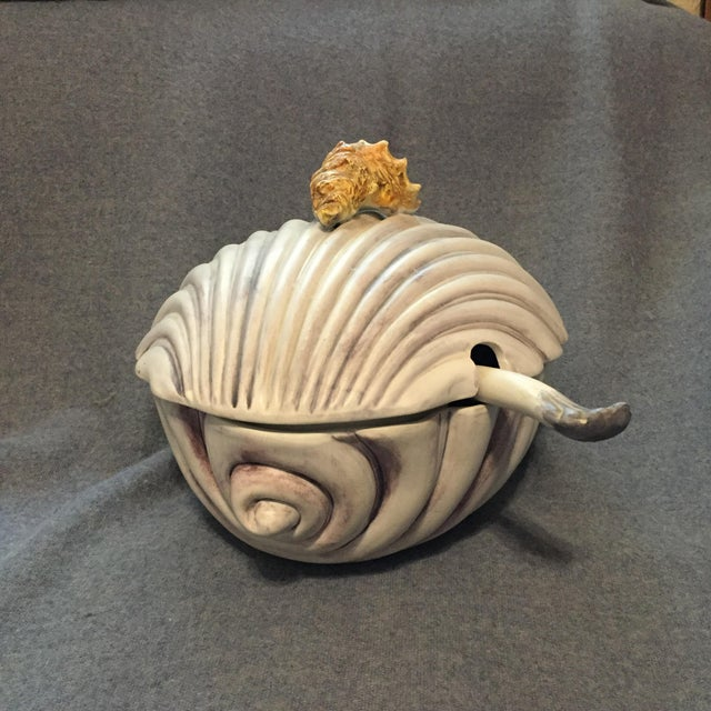 French Italian Majolica Clamshell Oyster Soup Tureen For Sale - Image 3 of 13
