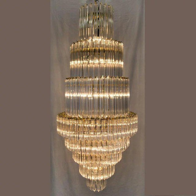 Mid-Century Modern 1960's Lucite Acrylic Cascading Chandelier from the University of Northern Colorado's Grand Ballroom For Sale - Image 3 of 7