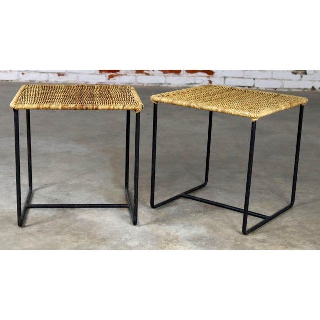 Caif-Asia Style Wrought Iron and Rattan Side Tables - A Pair For Sale - Image 13 of 13