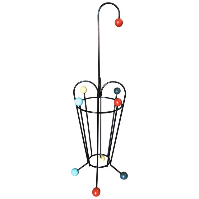 1950s George Nelson Inspired Iron Wire Umbrella Stand For Sale - Image 5 of 5