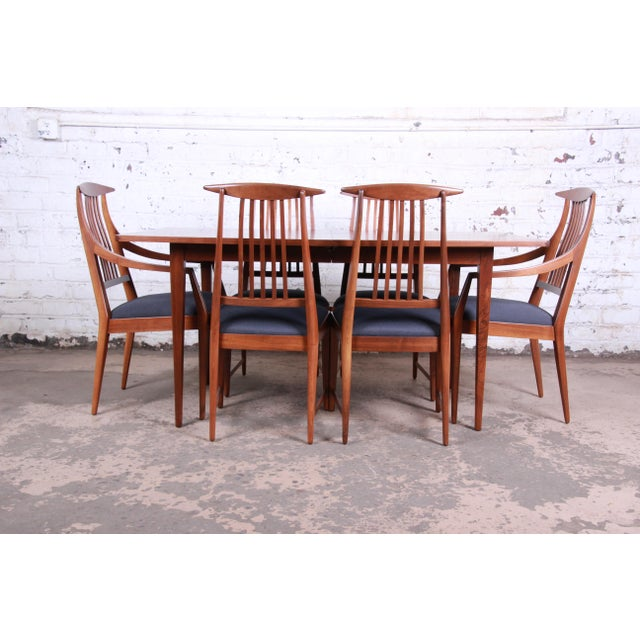 Brown Kipp Stewart for Calvin Mid-Century Modern Walnut and Rosewood Dining Set, Newly Restored For Sale - Image 8 of 13