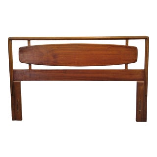 Mid Century Modern Walnut Surfboard Queen Size Headboard For Sale