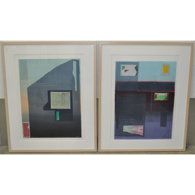 "Lithograph Robert Inman Pair of ""California & Osaka"" Lithographs C.1990s For Sale - Image 7 of 7"