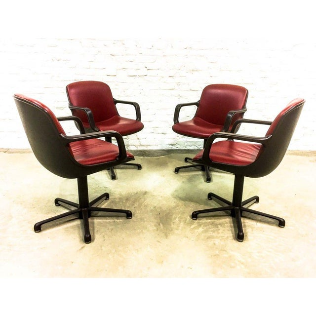 Set of 8 Mid-Century Burgundy Red Leather Executive Chairs by Comforto For Sale - Image 6 of 11