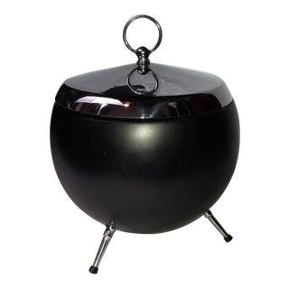 """Italian Aluminum """"Atomic"""" Ice Bucket With 3 Legs, Marked """"Flamingo"""", Mid-Century Modern For Sale"""