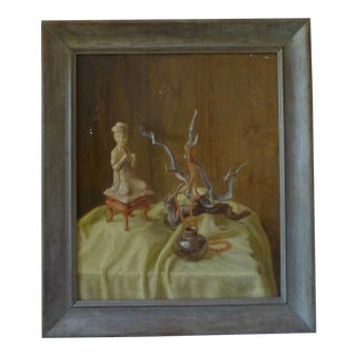 Mid Century Chinoiserie Inspired Still Life Painting on Wood