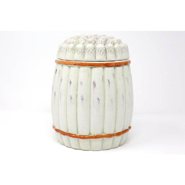 A vintage, hand-painted ceramic lidded jar or canister, in the form of a bundle of asparagus. Good vintage condition;...