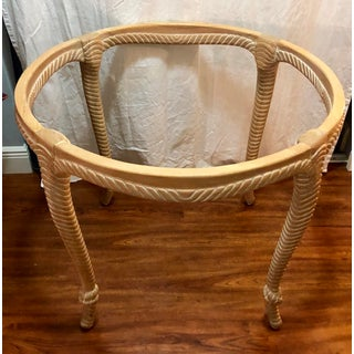 Vintage Italian Carved Wood Rope and Knot Round Table With Beveled Glass Top Faux Bois Hollywood Regency Palm Beach Preview
