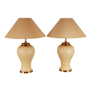 1970s Mid-Century Hollywood Regency Gilt Brass and Metal Table Lamps Vase Lamps - a Pair For Sale